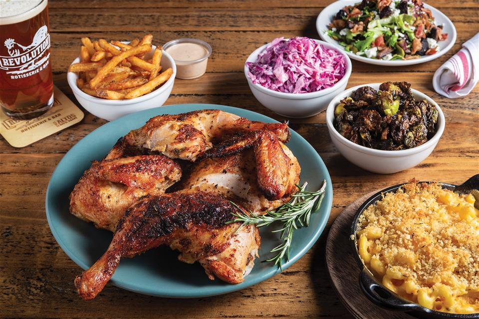 Revolution Rotisserie quartered chicken with sides