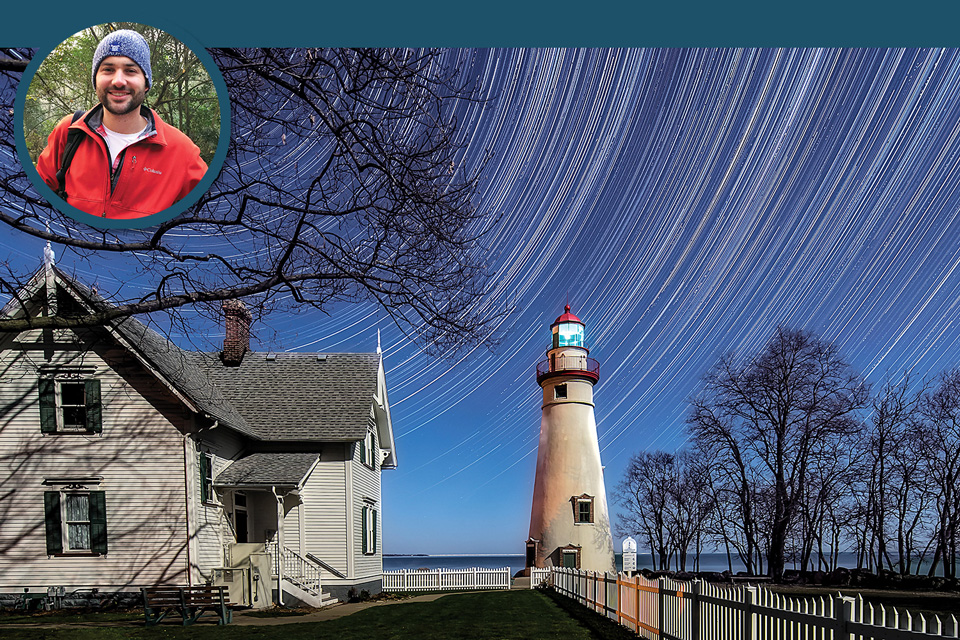 Marblehead Lighthouse and Matt Shiffler (inset)