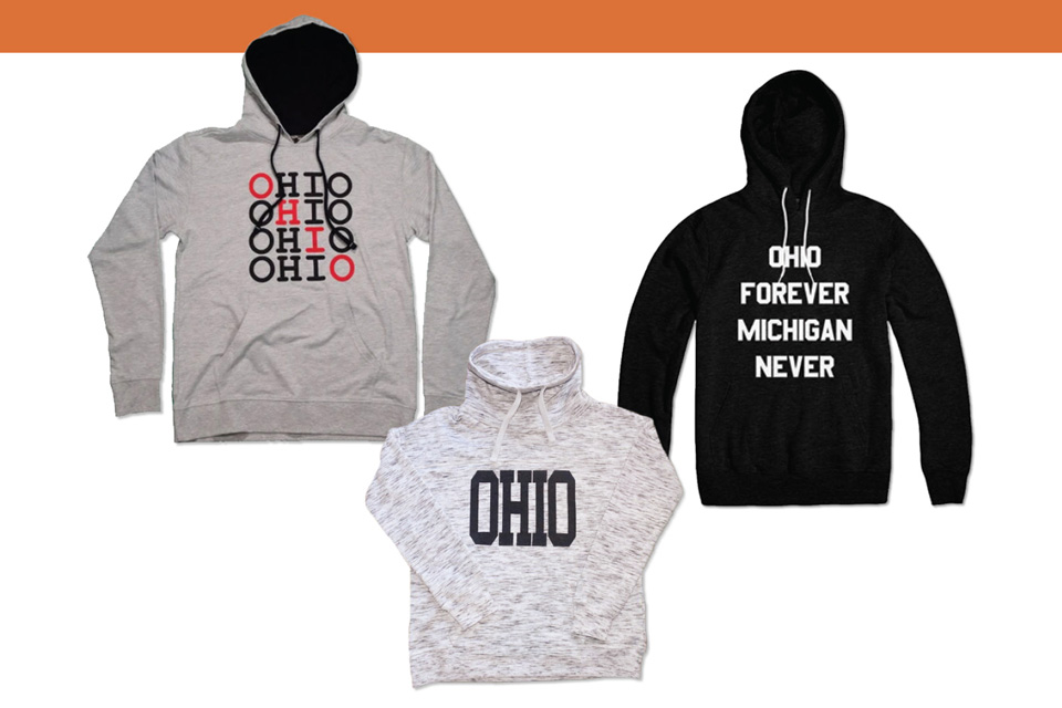 Ohio True, 7Thirty8, Ohio Forever and sweatshirts (left to right)