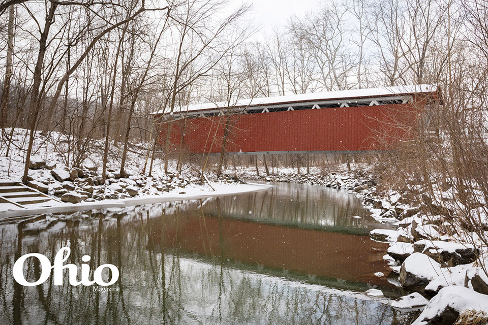 Everett Road Covered Bridge in snow (photo by Cody York)