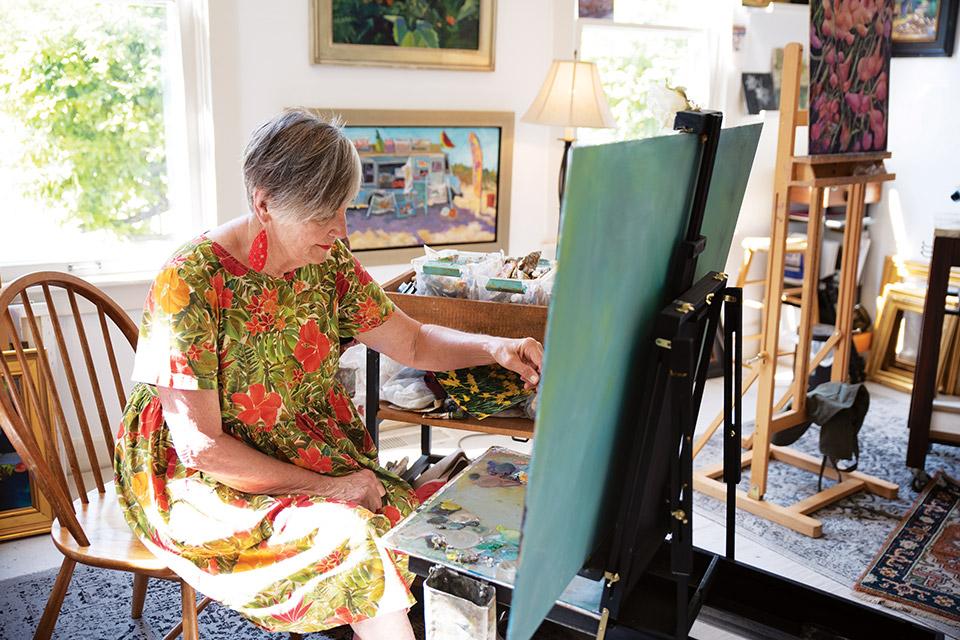 Artist working at 24 Lincoln Street Studios (photo by Rachael Jirousek)