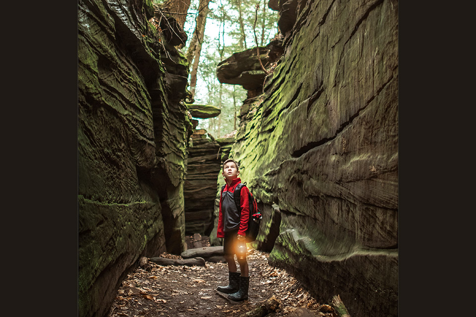 Child at The Ledges in Cuyahoga Valley National Park (photo by Stefanie Cinadr)