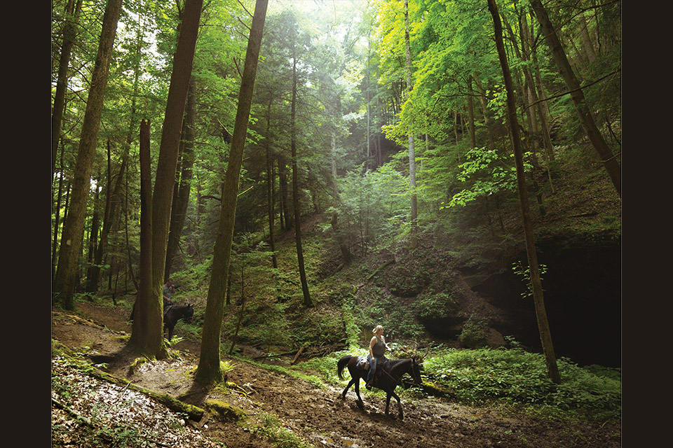 Horse and rider on the Hocking State Forest Bridle Trail (photo by Josh Mund)