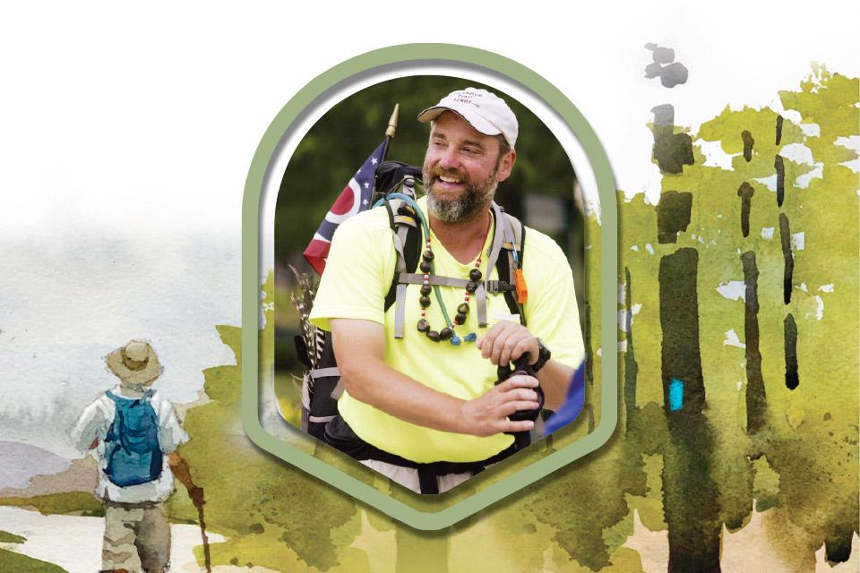 Buckeye Trail thru-hiker Andy Niekamp (illustration by Jeff Suntala)