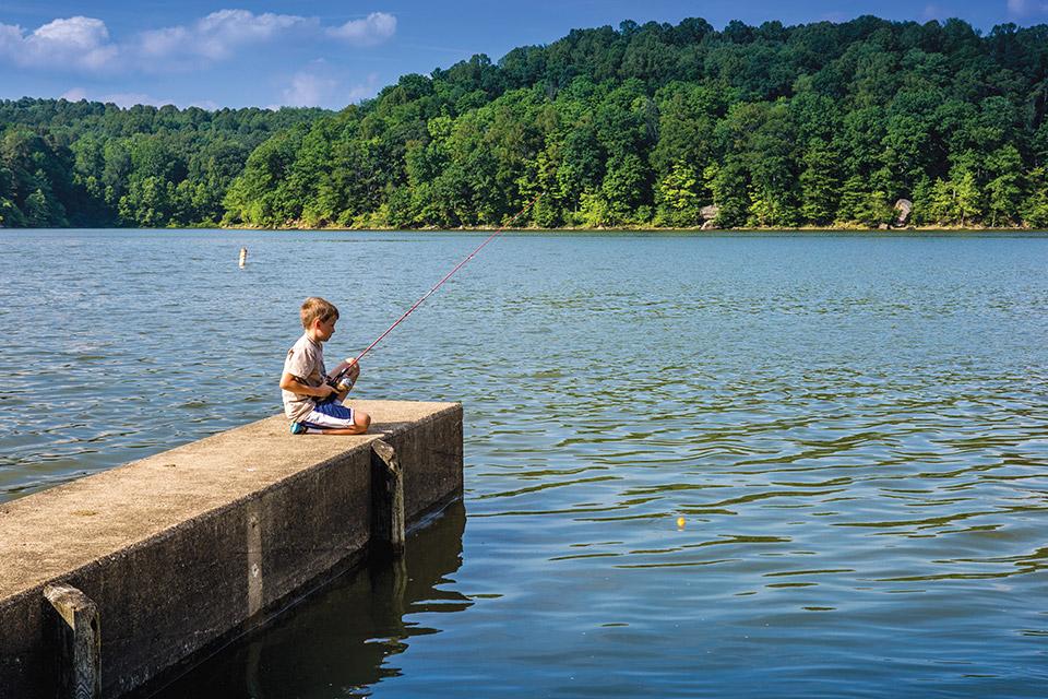Child fishing at Salt Fork State Park (photo by Laura Watilo Blake)