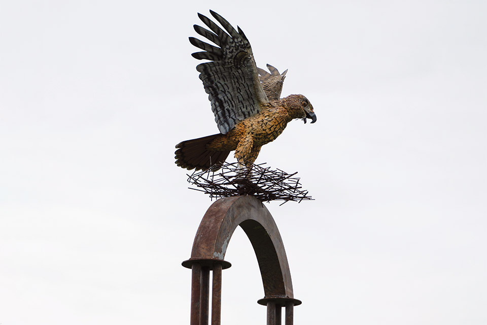 Flight of the Hawk Park statue (photo by Stephanie Park)