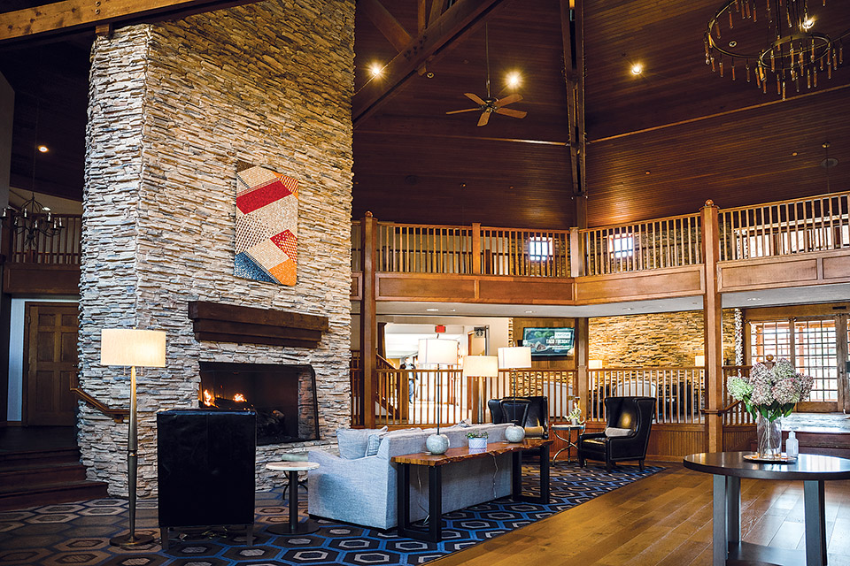 Cherry Valley Hotel fireplace and lobby