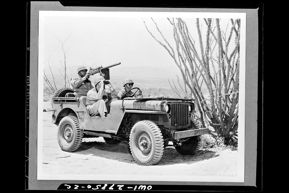 Reconnaissance patrol driving jeep at desert training center