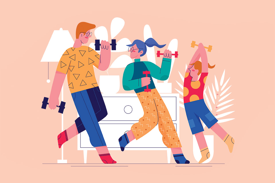 Illustration of family working out