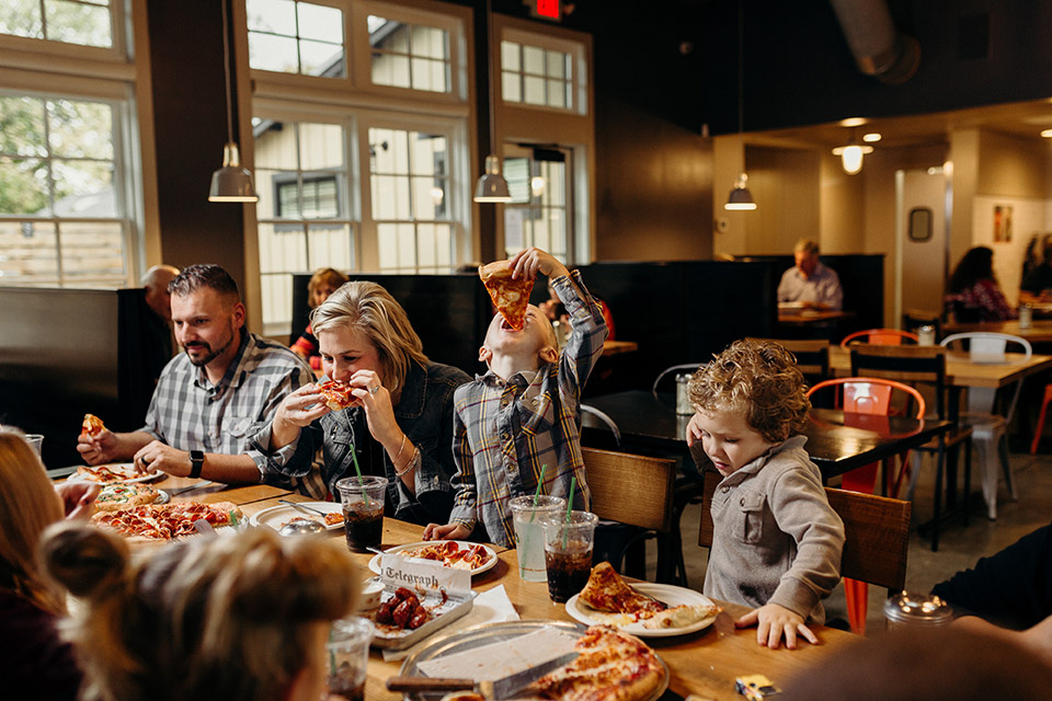 Family at Park Street Pizza (photo by Agape Photography)