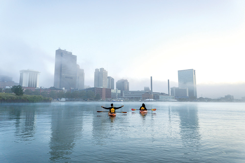 People kayaking on the Maumee River Water Trail (photo courtesy of Destination Toledo)