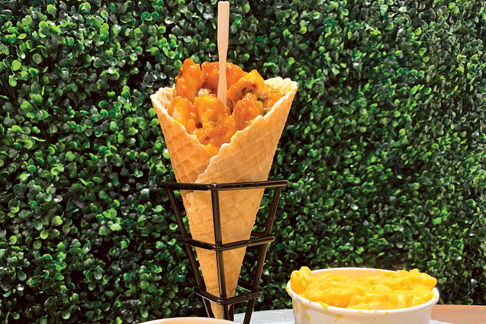 Fried chicken in a waffle cone at Chick'ncone (photo courtesy of Butler County Visitors Bureau)