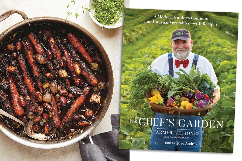 Carrot pot roast and The Chef's Garden book (photo courtesy of Penguin Random House)