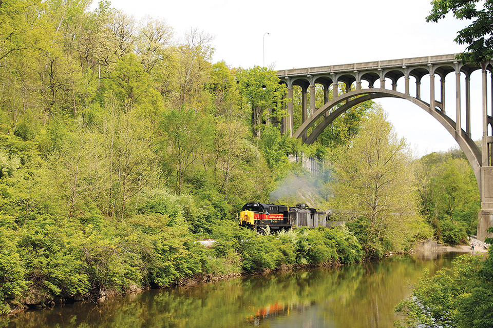 Cuyahoga Valley Scenic Railroad train and bridge (photo courtesy of Canalway Partners)