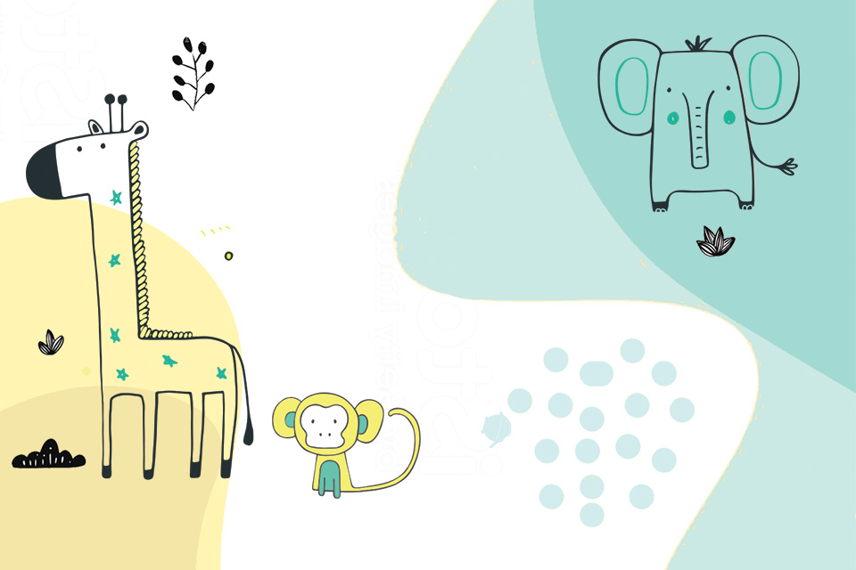 Giraffe, monkey and elephant illustration (photo by iStock)
