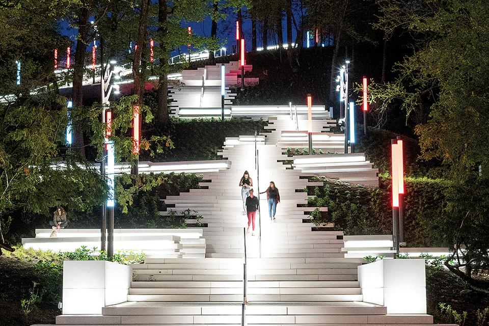 Women walking up Art Climb steps (photo by Cincinnati Art Museum and Phil Armstrong)