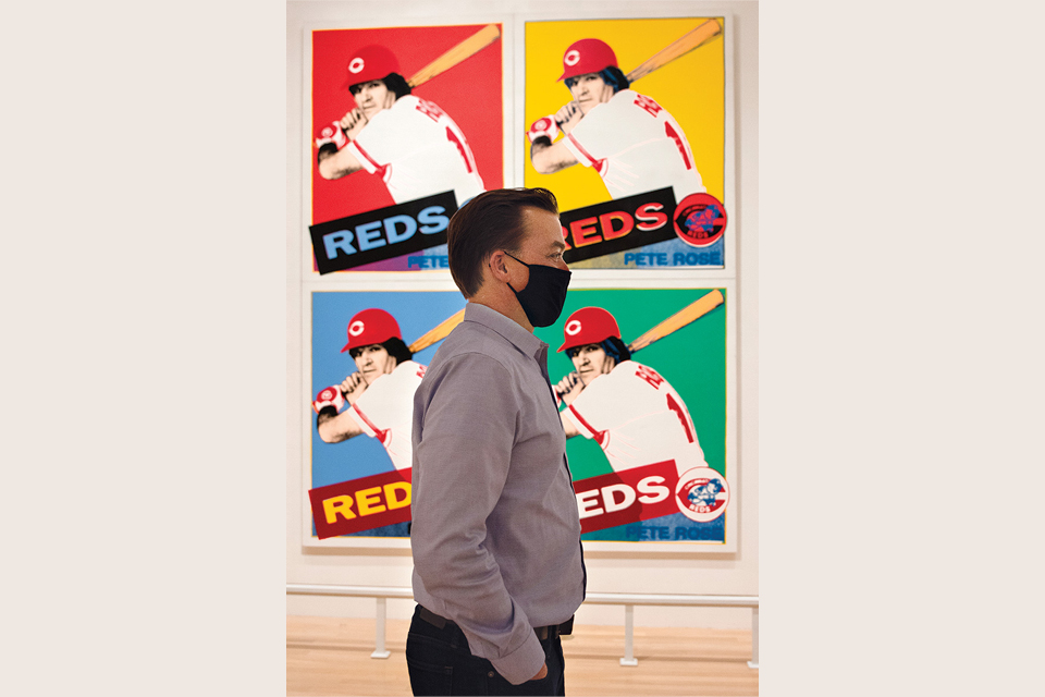 "Editor Jim Vickers in front of Andy Warhol's ""Pete Rose"" (photo by Stephanie Park)"