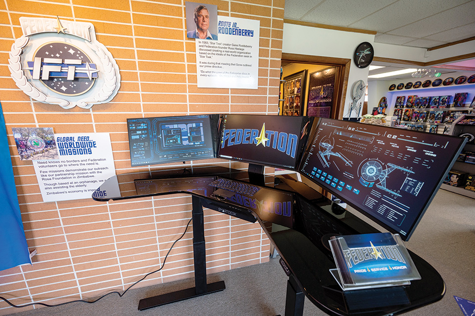 Starship-themed office at Federation headquarters