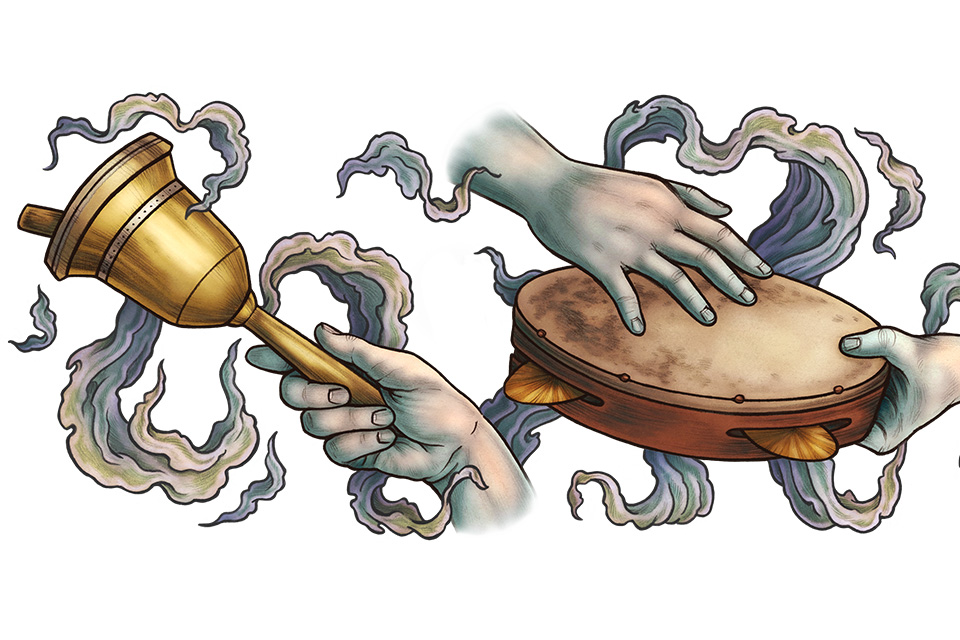 Ghost World hands, tambourine and bell illustration (illustration by Kate O'Hara)