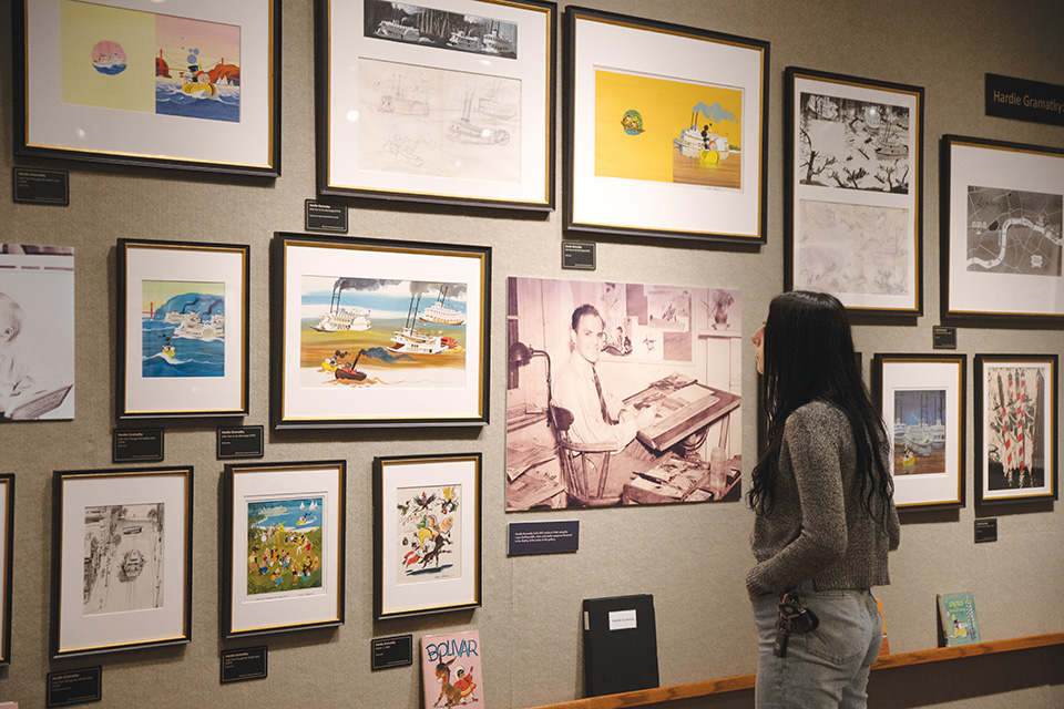 Woman looking at art at Mazza Museum (photo by Rachael Jirousek)